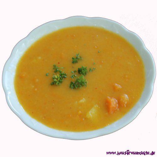 Möhrensuppe mit Einbrenne unsere einfache Möhrensuppe mit Einbrenne macht auch ohne Würstchen satt :) vegetarisch