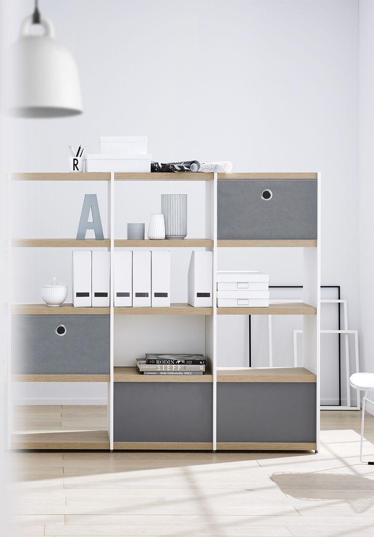 minimalistisches Aktenregal weiß/eiche