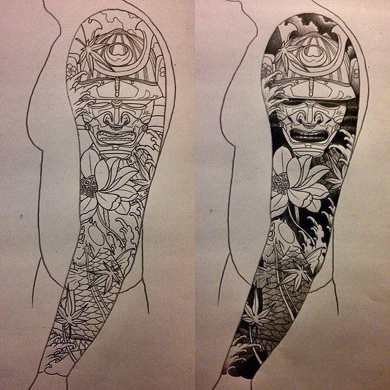 Japanese style sleeve tattoo-flowers/koi/samurai