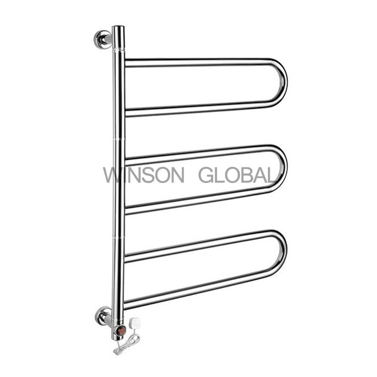 Electric Towel Rails Round Tube Rotating 304 Stainless Steel Rails Bath Heating Holder Towel Bars Drying Towel Rack ICD60052 #Affiliate