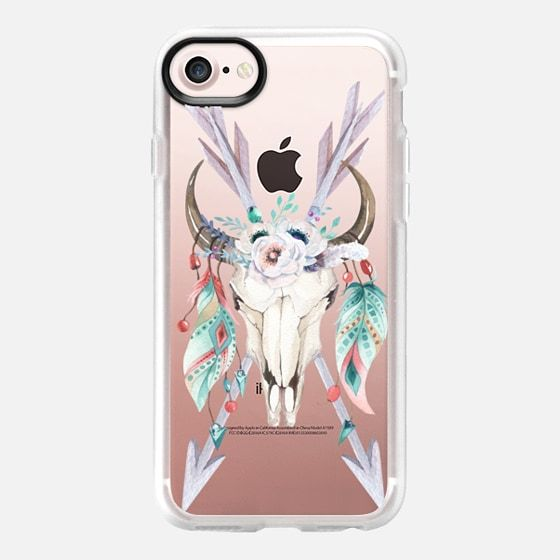 WATERCOLOR BOHO BULL SKULL ARROWS AND FEATHERS - Classic Grip Case