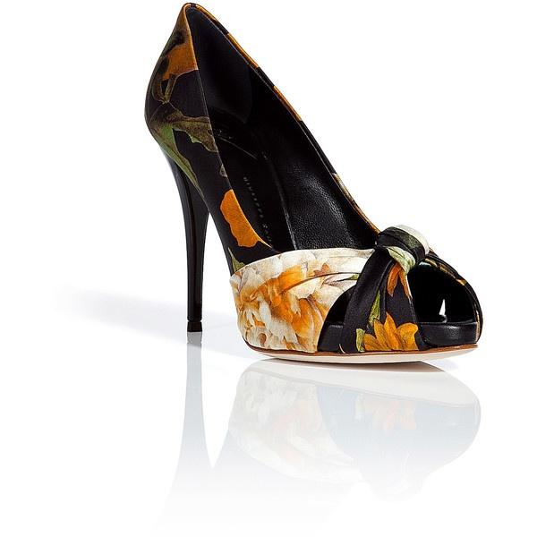 GIUSEPPE ZANOTTI Black Peep-Toe Pumps With Floral Print ($215) ❤ liked on Polyvore