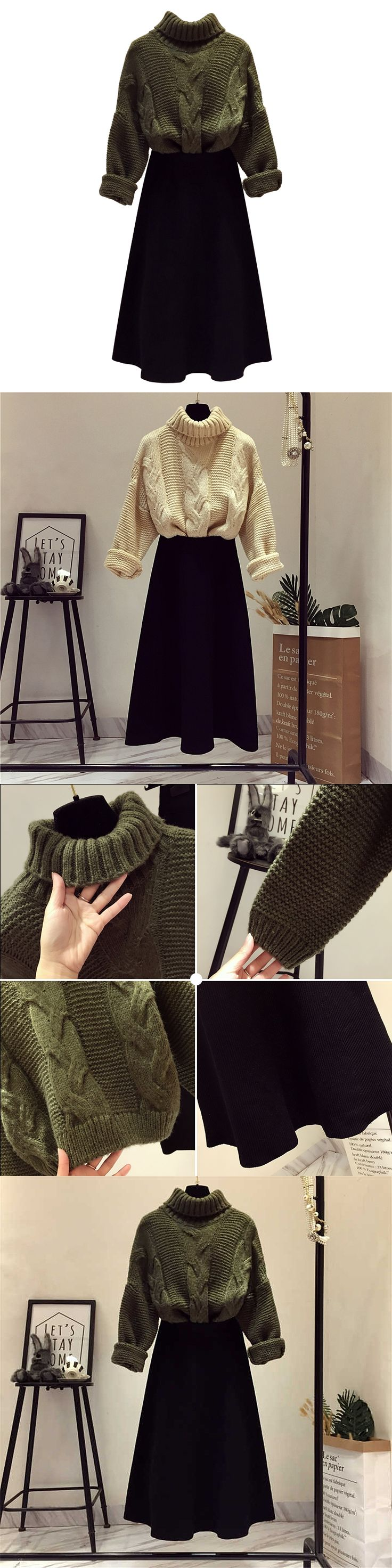 Autumn Winter Women's Clothing Set Ladies Turtleneck Pullover Sweater + Medium Long Skirts Suit Students Two Piece Sets 2018