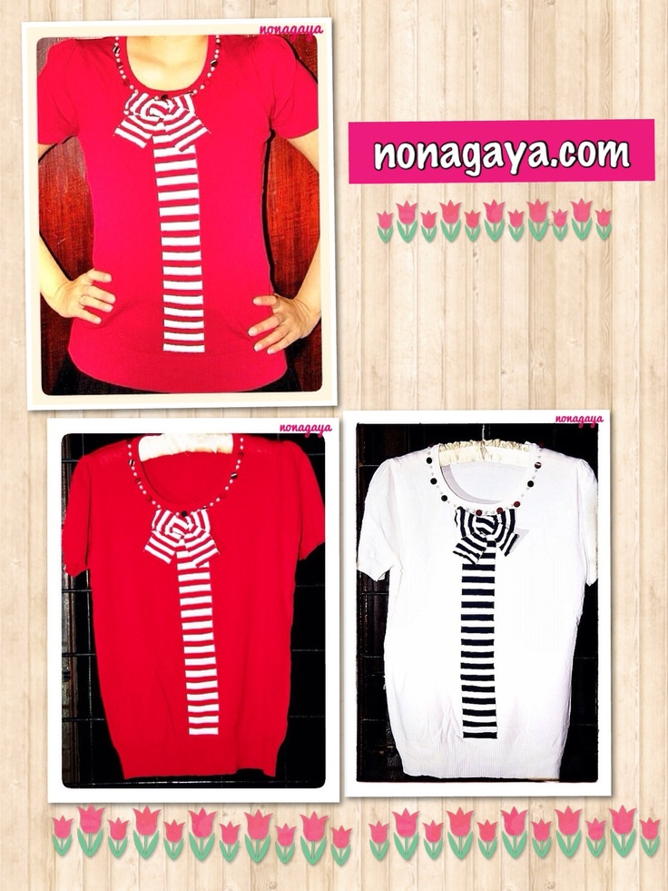 Sailor knit top (red/white) for Rp165.000
