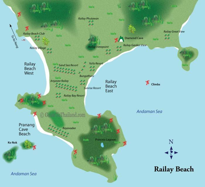 Map of Railay Beach Rock Climbs-Krabi Thailand