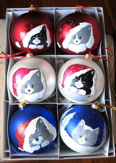 Paws N´ Whiskers handpainted christmas tree ornaments