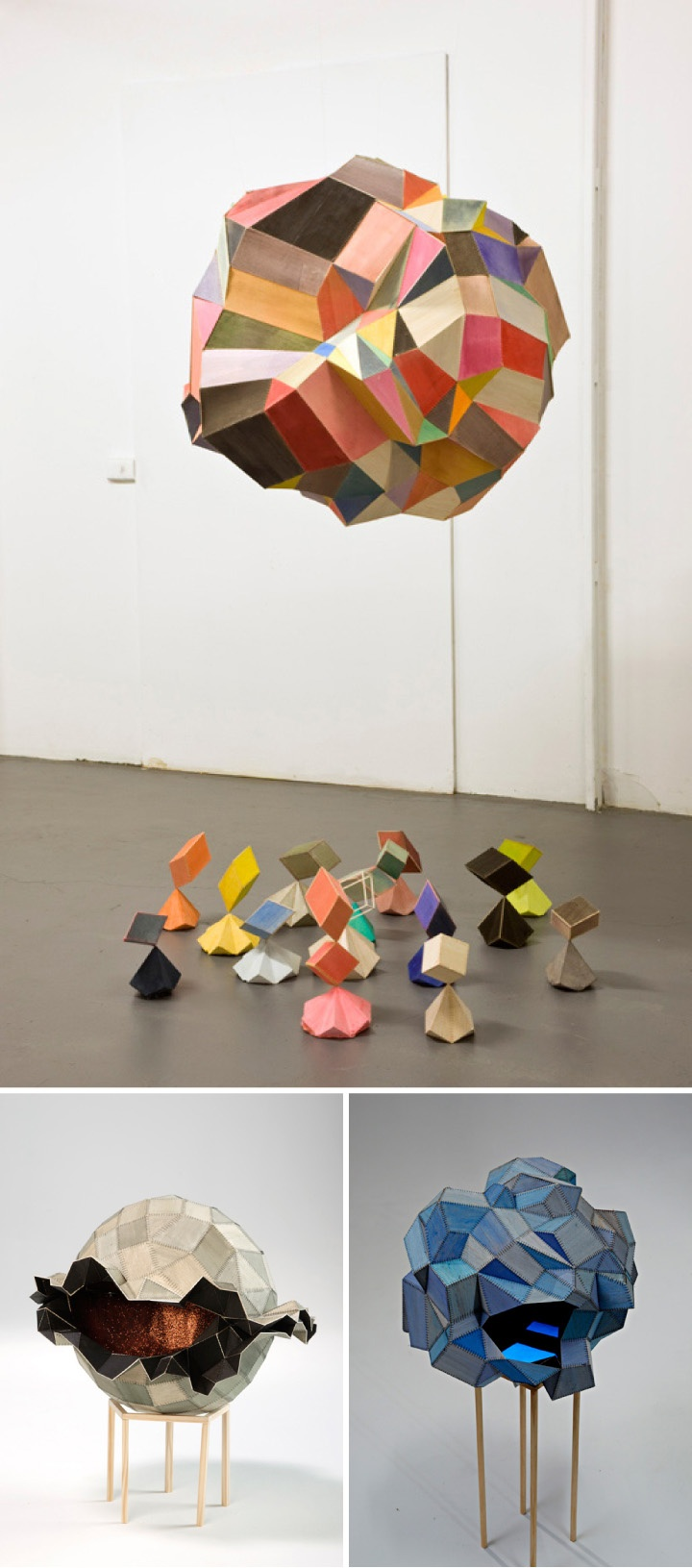 Australian artist Amy Joy Watson hand-stitches her joyful, geometric sculptures out of balsa wood.