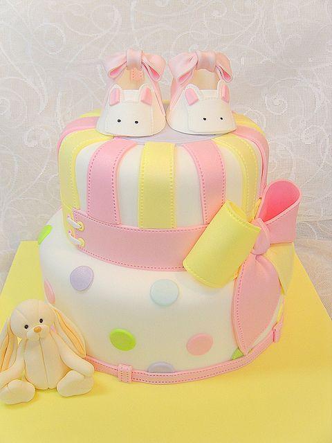 Christening cake with bunny bootie by deborah hwang, via Flickr