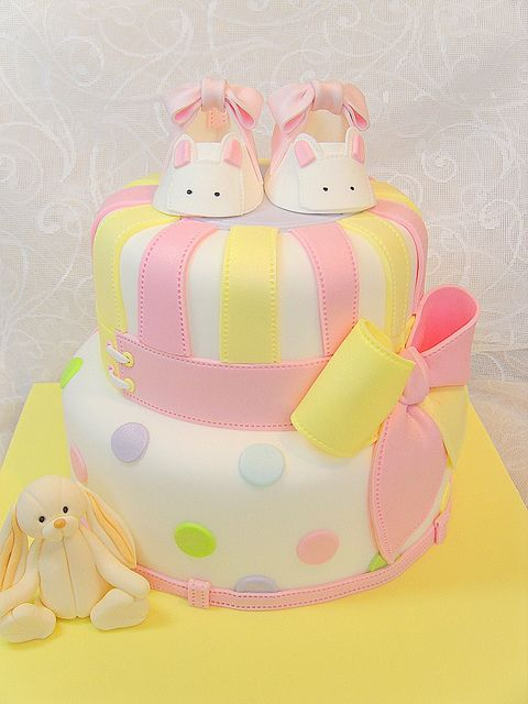 Christening cake with bunny bootie by deborah hwang, via Flickr