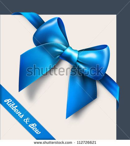 Blue bow. Vector - stock vector