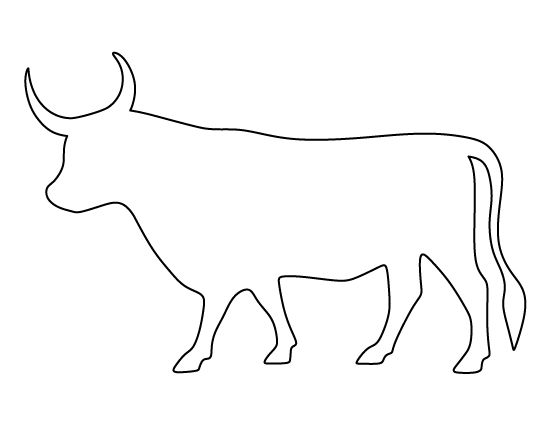 Bull pattern. Use the printable outline for crafts, creating stencils, scrapbooking, and more. Free PDF template to download and print at http://patternuniverse.com/download/bull-pattern/