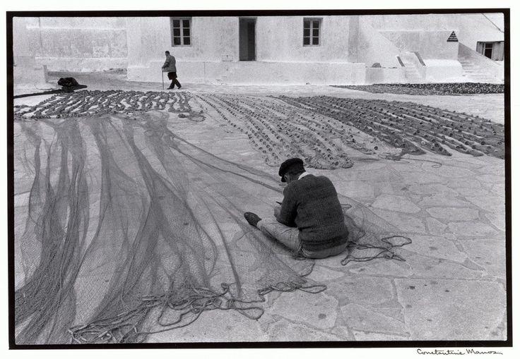 Constantine Manos. Mykonos. 1967. Repairing fishnets.