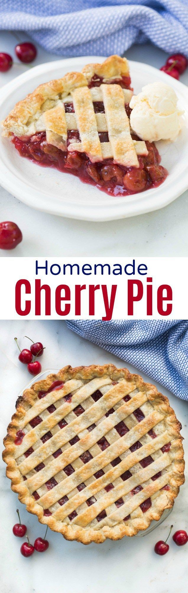 A homemade cherry pie recipe that you can make any time of year! Ditch the canned stuff for this easy and DELICIOUS homemade cherry pie.