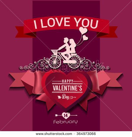 Valentine's day labels, icons elements, typography vintage design and silhouette. Love card for Valentines day. Vector illustration. - stock vector