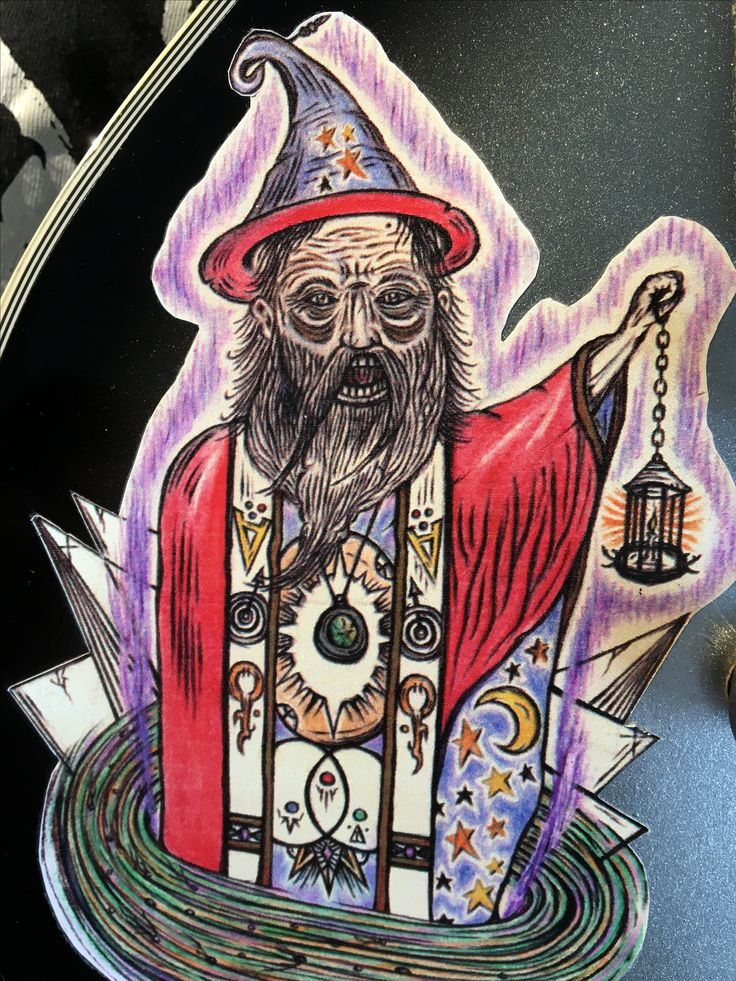Painting of a celestial wizard turned into a sticker.