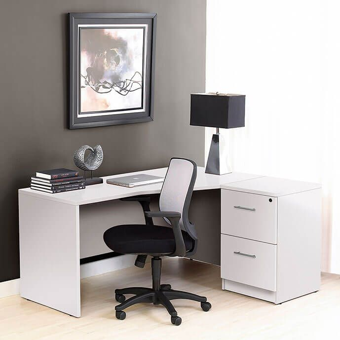 The 100 Series Cabinet L Desk In White Is A Solid Option For File Storage And For Work Space You Can Keep Y Furniture Cheap Office Furniture File Cabinet Desk