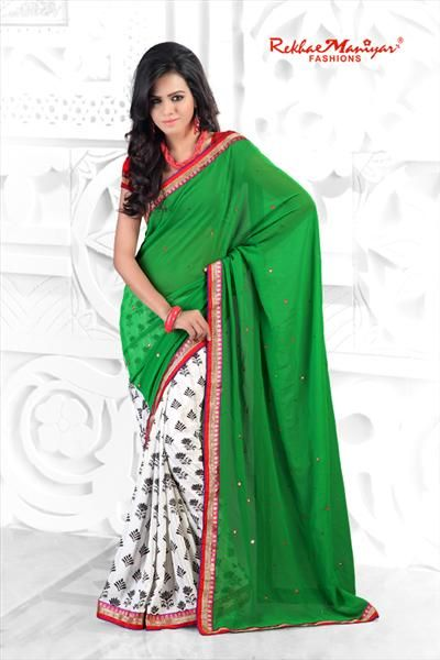 Here Comes Fancy One product for with the splendid contrast colour of Green & White to increase your value of beauty. Saree having combine fabric of dyed and print also, so beauty gets more stunning effect. Saree having mirror and diamond work to look more gorgeous. Moreover, finally fancy border giving great effect to the saree and your beauty too. Contrast Blouse Material Unstitched