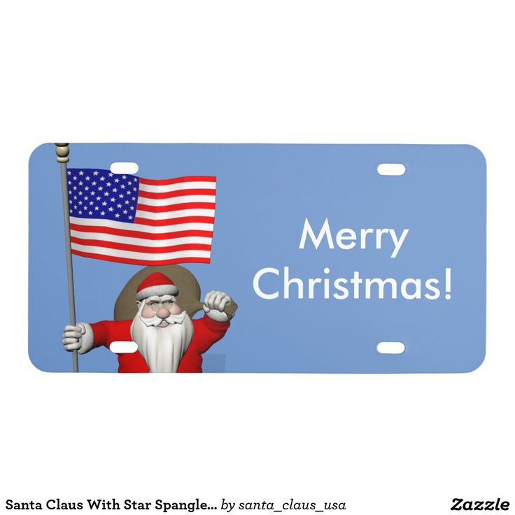 Santa Claus With Star Spangled Banner ~ custom front license plate