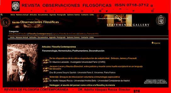 REVISTA DE FILOSOFÍA CONTEMPORÁNEA – REVISTA OBSERVACIONES FILOSÓFICAS – Dr. ADOLFO VÁSQUEZ ROCCA  Director