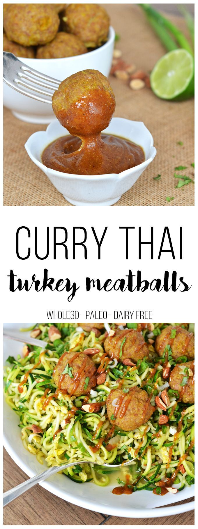 These Curry Thai Turkey Meatballs are super easy to throw together, Whole30, Paleo and packed with flavor and protein. A quick curry and almond butter sauce compliment them perfectly!