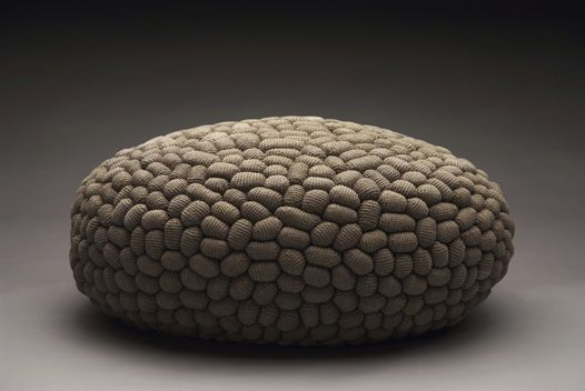 """""""sleeping mice"""" - Oval pouf made of 1500 small crocheted linen mice - project by monomoka"""
