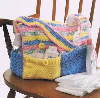 Cute crochet diaper bag Thought this was an awesome idea!
