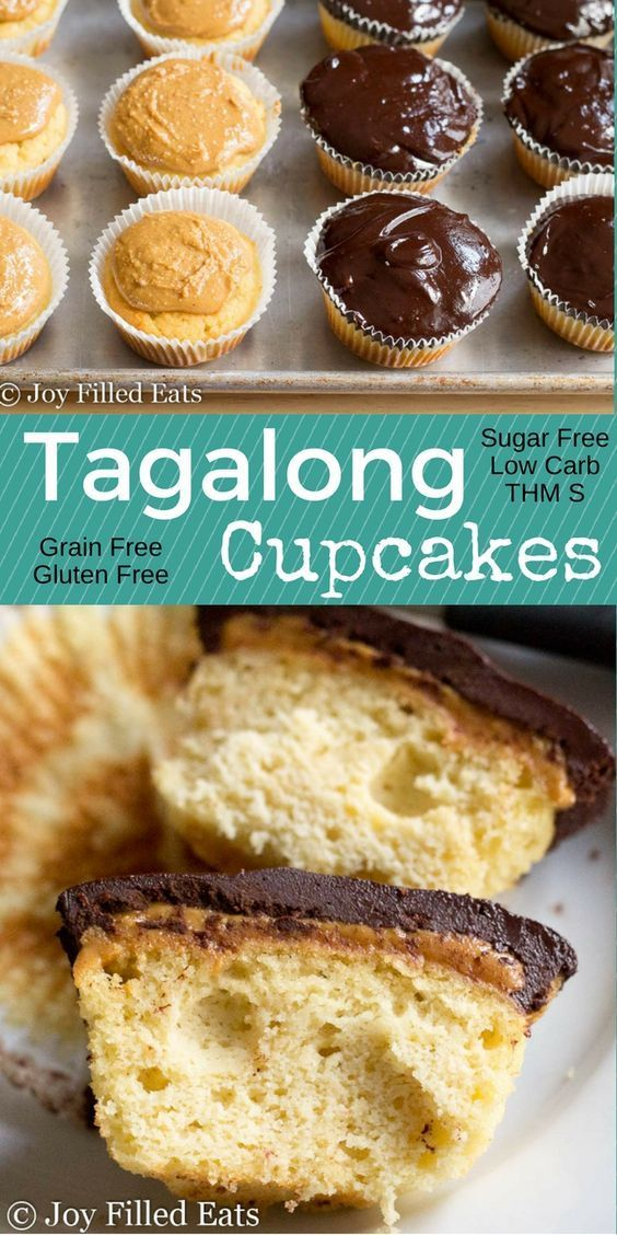 These Tagalong Cupcakes have fluffy grain free yellow cake covered with peanut butter and chocolate ganache. You'll never miss Girl Scout cookies again. They are sugar free, low carb, and a THM S.