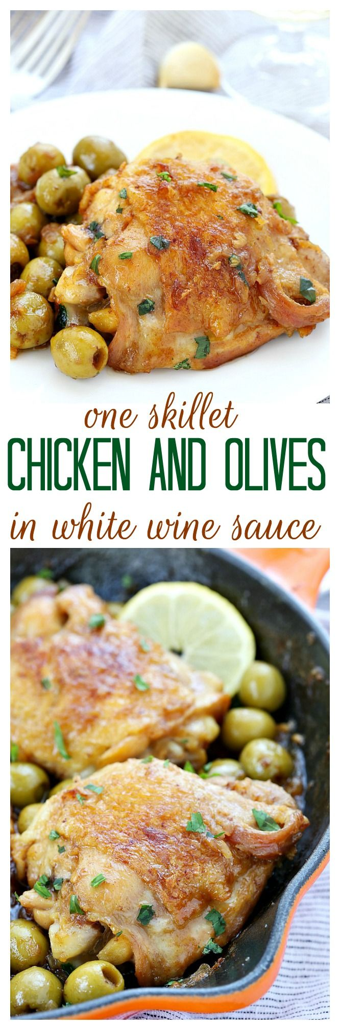 5 ingredients are all you need to make this bright and briny chicken and olives in white wine sauce. Good taste does not always depend on a lot of ingredients.