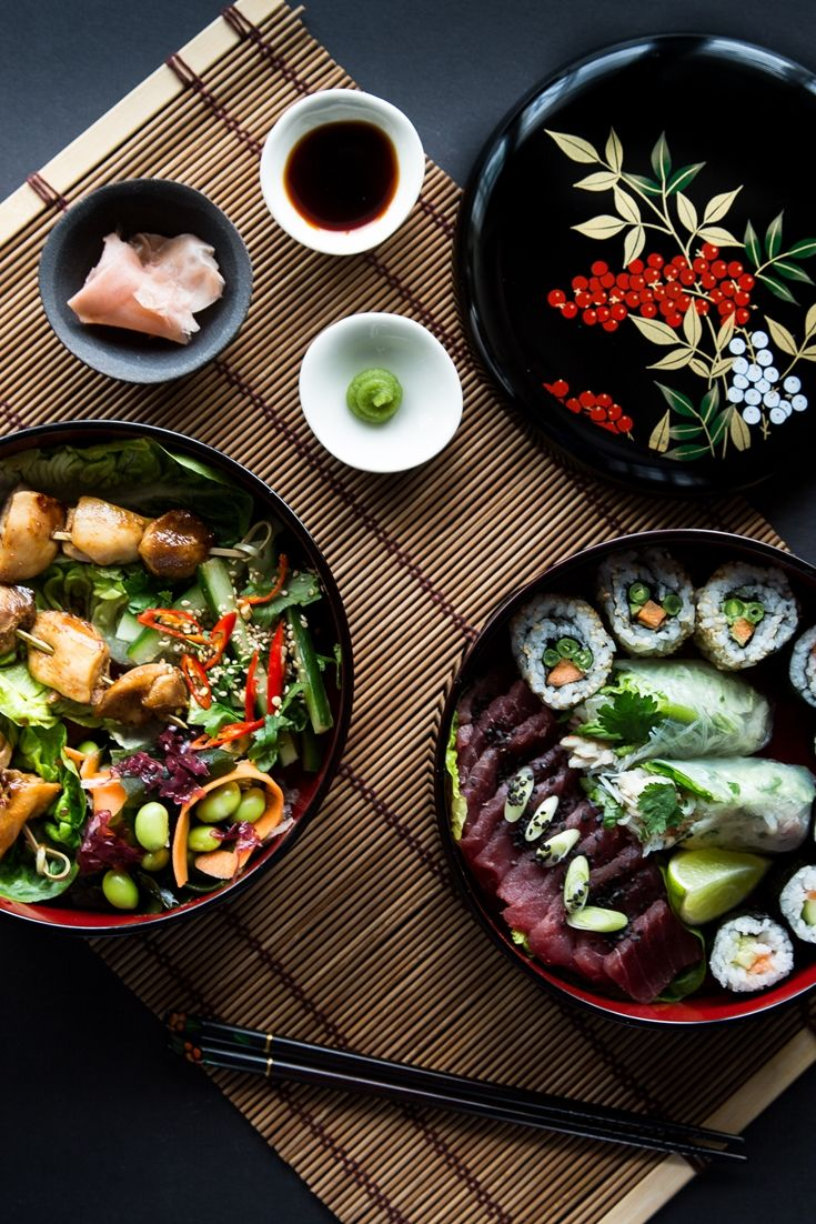 Yuzu chicken and sushi bento box. This stunning sushi bento box recipe from Louise Robinson holds an array of sushi, yuzu-marinated chicken and sea vegetable salad. A recipe for those who take lunch seriously.