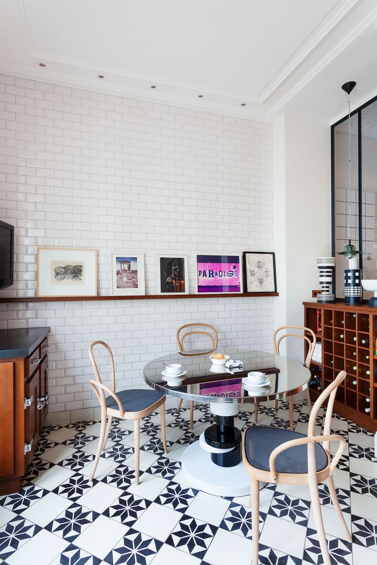 Patterned floor tiles | Sandra Benhamou's Chic and Eclectic Apartment in Paris