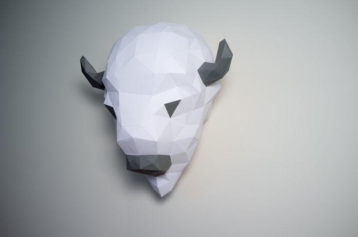 Geometric DIY Bison/Buffalo. Pre-cut/pre-score paper kit.