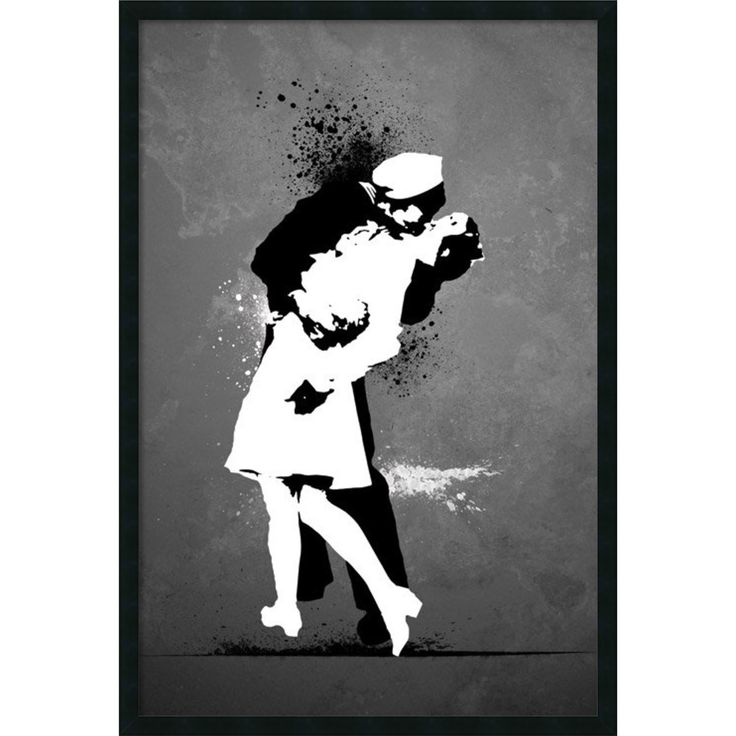 Bring a little culture to your home decor with this remarkable framed print. Modernize your decor with this romantic street art print War's End Kiss by mysterious graffiti artist Banksy. His works of