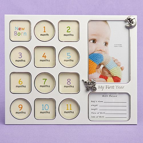 """""""My First Year"""" baby photo collage frame"""