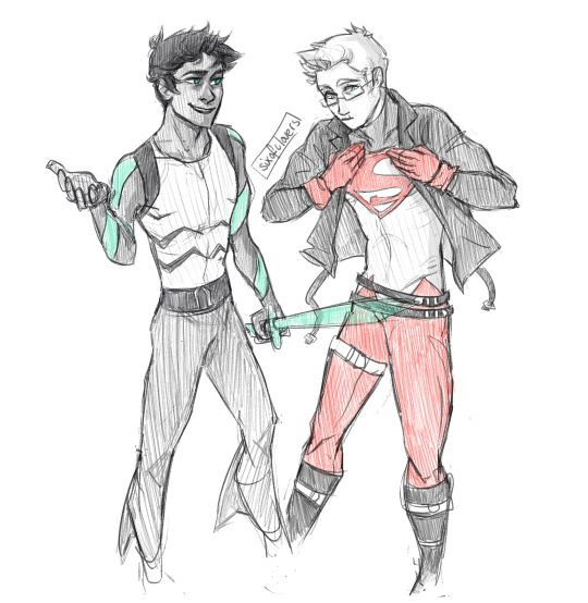 percy jackson superhero<<<aqua lad and super boy u have no idea how much I needed this