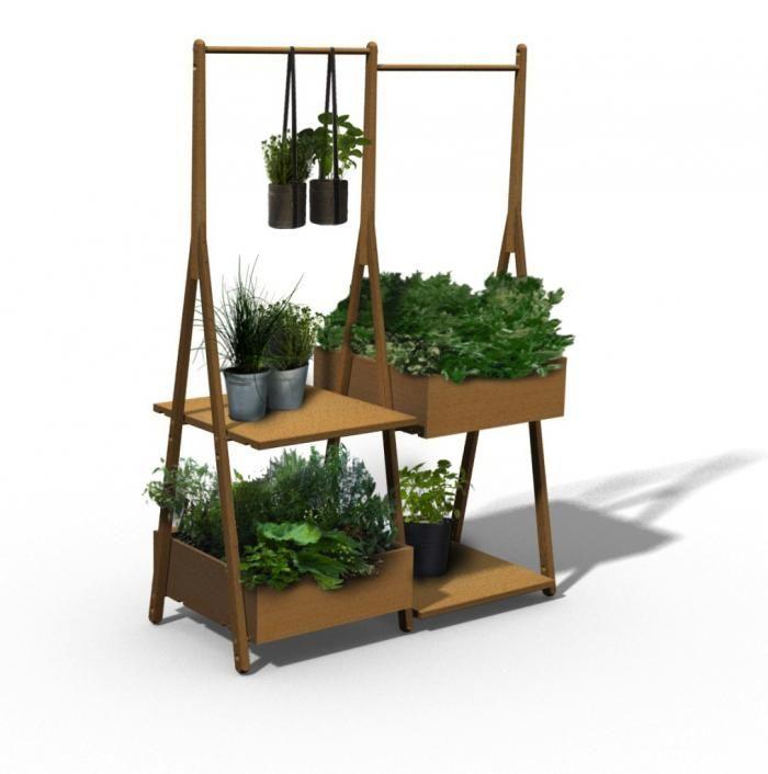 wooden balcony garden with shelves from france via gardenista