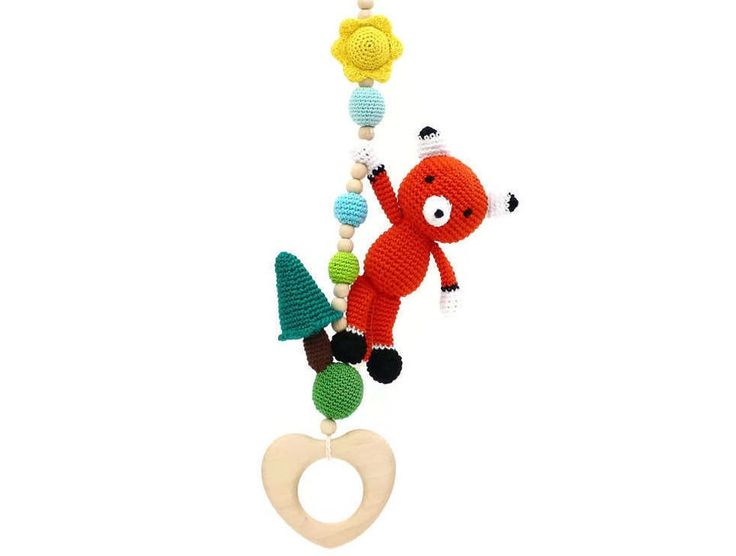 Red fox stroller toy, car seat toy, pram toy, hanging toy, activity center toy, baby rattle, baby gym toy, woodland mobile, wooden teether by LanaCrocheting on Etsy https://www.etsy.com/listing/488972392/red-fox-stroller-toy-car-seat-toy-pram