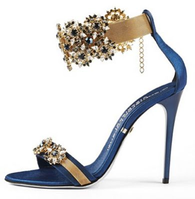 Gianmarco Lorenzi Blue & Gold Jeweled Evening Sandals #GML #Lorenzis #Shoes