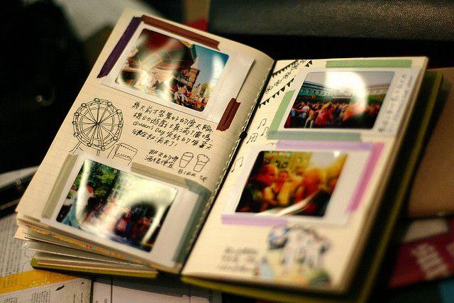 Tape and Polaroids.