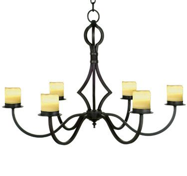 Dana creath designs six light forged iron chandelier available with wax candles shades and in all metal finishes x