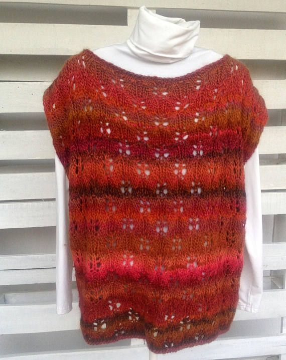 Hand knitted tank top Autumn leaves lace knitted top hand