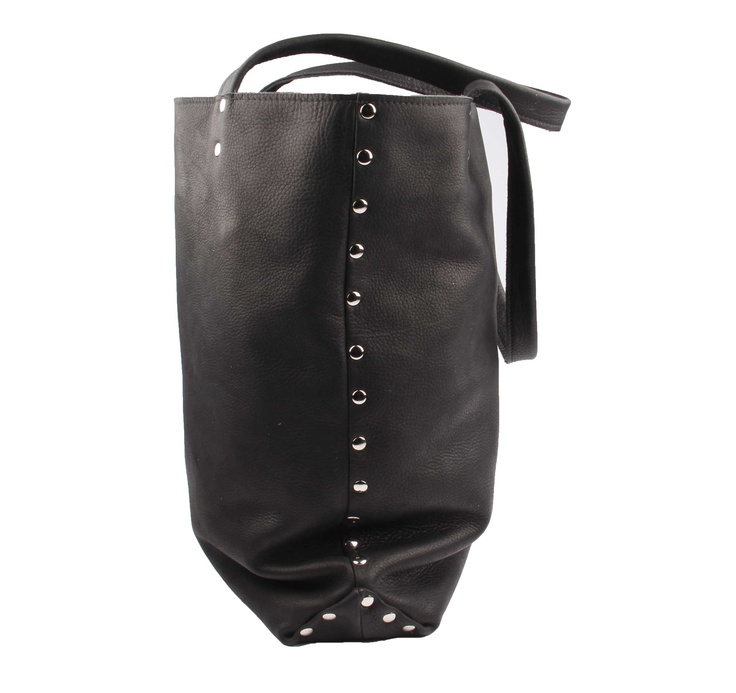 zwart leren shopper tas big black leather tote | SPRDLX.NL kussens & woonaccessoires