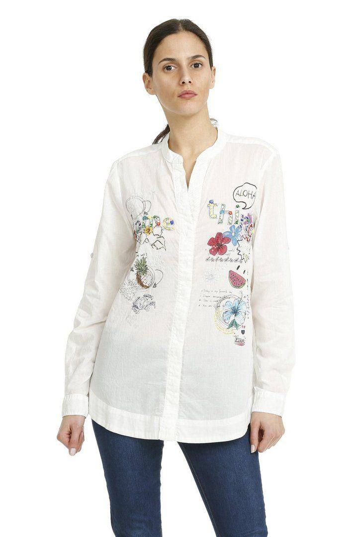 Camisa blanca de algodón | Desigual Plecol 1000