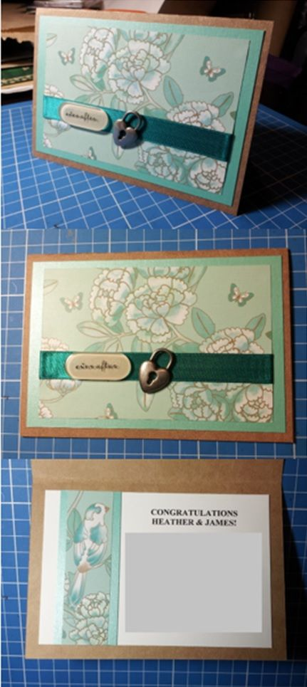 Teal nature themed handmade Wedding card - Han-crafted (c)