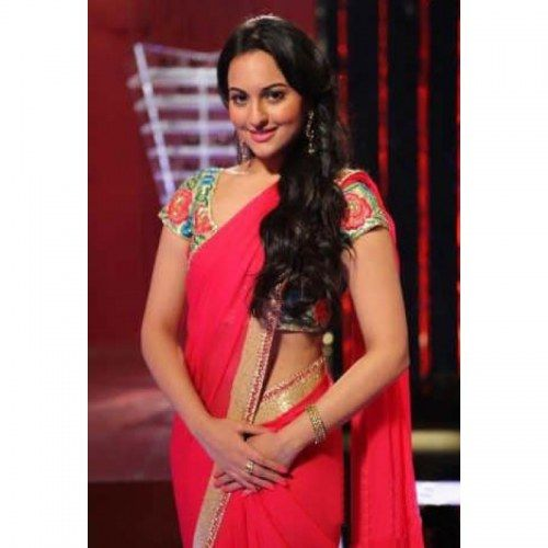 Sonakshi sinha in hot pink designer saree