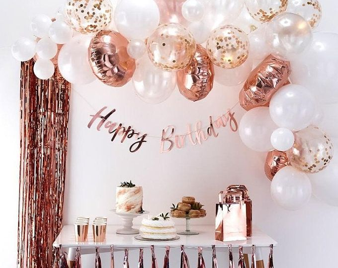 Rose Gold Happy Birthday Decoration Rose Gold 21st Birthday Etsy In 2020 Gold Birthday Party 21st Birthday Decorations Birthday Party Decorations