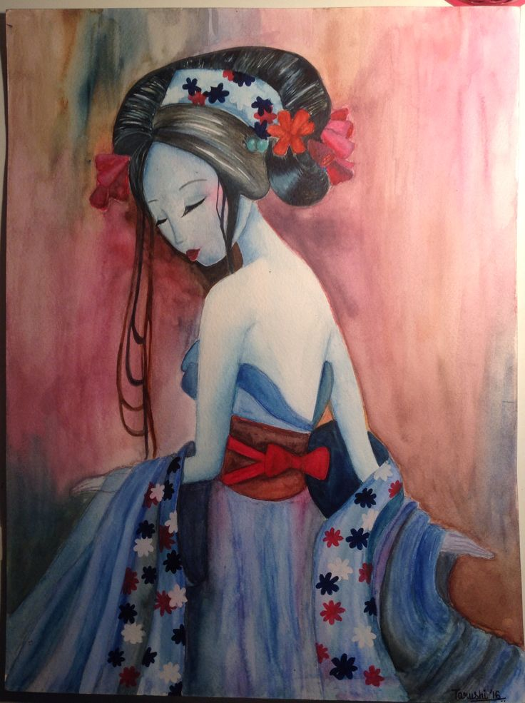 The blue lady in watercolour made by tarushi