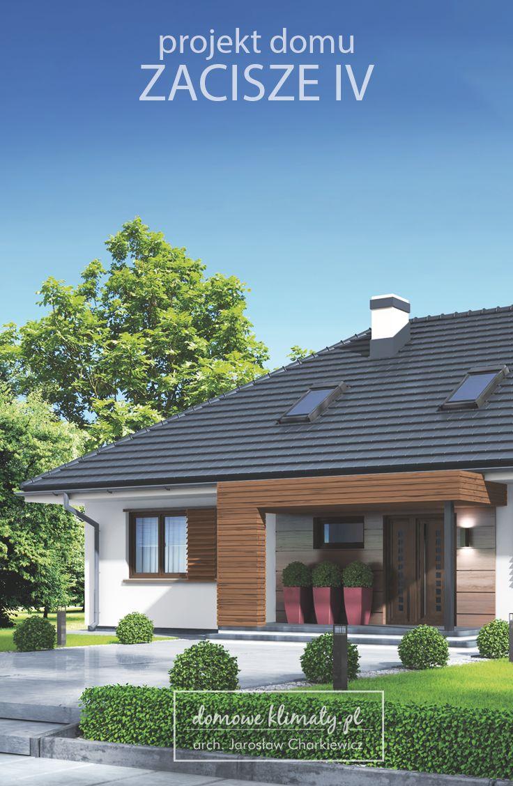 """Projekt małego domu parterowego z wielospadowym dachem. Cechuje go prosty i pełen wdzięku wygląd oraz funkcjonalne wnętrze. Warto zwrócić uwagę na duży salon i kuchnię ze spiżarnią. Centralnie umiejscowione wejście może przywodzić na myśl dworkowy układ domu. Budynek """"ubrany"""" jest jednak w nowoczesne szaty."""