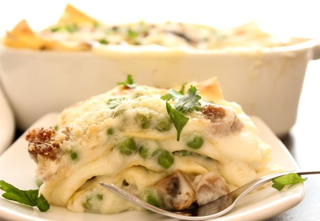 White Sauce Lasagna, a creamy, delectable Italian dish, layered with sausage, peas, and mushrooms, double cheese, perfect, maybe better than the classic.|anitalianinmykitchen.com