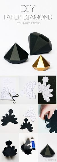 DIY Paper Diamond Tutorial with FREE Printable Template | HungryHeart.se