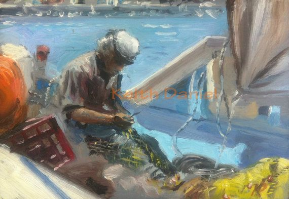 Fisherman  mending net    Original Oil painting by KeithDanielart